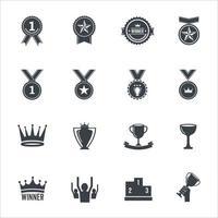 winnaar pictogrammen ondertekenen vector illustratie