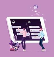 planning en planningsconcept. zakenman gemarkeerd controlelijst op tablet vector