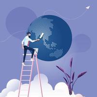 zakenman ruimt de wereld op. bedrijfsomgeving concept vector