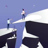 zakelijke hulp en ondersteuning concept. leiderschap gebruik zaklamp helpt team over de klif vector