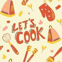 vector naadloze patroon met kookgerei. laten we koken. hand getekend leuke achtergrond in vintage stijl.