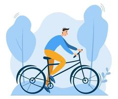 jonge man fietsten buiten in park. milieuvriendelijk ecologisch schoon persoonlijk vervoer vector