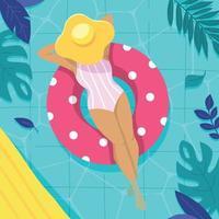vrouw ontspannen op rubberen vlotter in zwembad vector