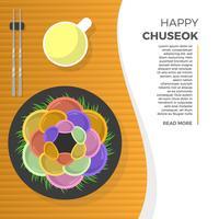 Vlakke Chuseok-Traditionele de Keuken Vectorillustratie van het de Herfstfestival