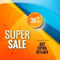 Verkoop banner sjabloonontwerp super verkoop achtergrond kleurrijke desig vector