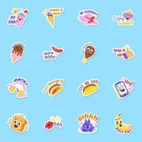 voedsel sticker-elementen vector