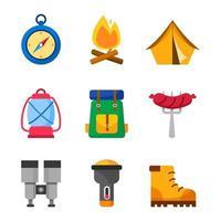 set van zomerkamp iconen vector