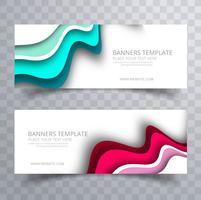 Moderne kleurrijke golvende banners geplaatst bedrijfsmalplaatje