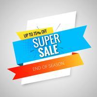 Super verkoop banner sjabloon ontwerp vector