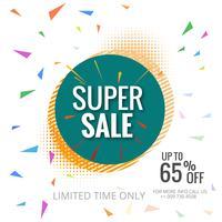Super het malplaatje van de verkoop kleurrijke affiche illustratie als achtergrond vector