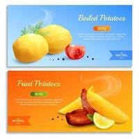 gekookte en gebakken aardappelen realistische banners vector illustratie