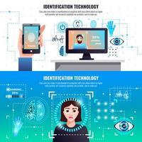 identificatie technologieën banners vector illustratie