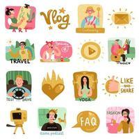 video bloggers pictogrammen instellen vectorillustratie vector