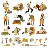 archeologie pictogrammen instellen vectorillustratie vector
