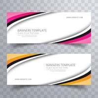 Elegante kleurrijke stijlvolle golvende banners instellen sjabloon vector