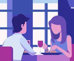 Mensen die bij de Illustratie van het Restaurant eten vector