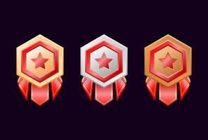 game ui goud zilver bronzen rang badge medailles met rood lint vector