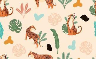 safari zwarte achtergrond met tijger vector