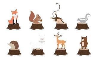 schattige bosvoorwerpencollectie met dier vector