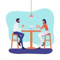 Mensen die bij Restaurantvector eten vector