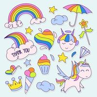 schattige regenboog sticker set vector