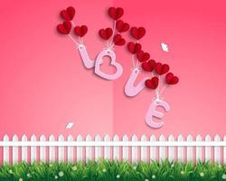 tuin van de liefde met rode ballonnen die in de lucht zweven vector