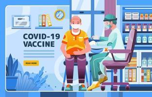 Covid 19-vaccin voor senioren door arts vector