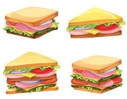 set van verschillende sandwiches vector