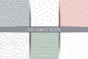 een set van eenvoudige minimalistische zomer lente naadloze patronen zachte ornamenten met lijnen druppels harten vormen vector