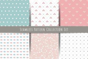 een set van eenvoudige minimalistische vintage naadloze patronen zachte lichte ornamenten met takdruppels vormen vector