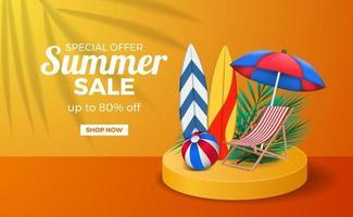 zomer verkoop poster sjabloon voor spandoek met podium podium oranje warme kleur met surfplank bal en stoel vector