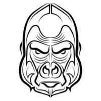 zwart-wit lijntekeningen van gorillahoofd goed gebruik voor symbool mascotte pictogram avatar tatoeage t-shirt ontwerp logo of elk gewenst ontwerp vector