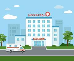 medisch ziekenhuisgebouw buiten. een ambulanceauto naast het ziekenhuisgebouw. geïsoleerde medische faciliteit buitenaanzicht met bomen en wolken op de achtergrond. platte vectorillustratie vector