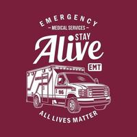ambulance van grafische t-shirt vector