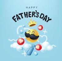 gelukkige vaders dag banner achtergrond met snor smiley vector