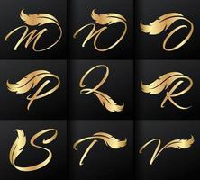 gouden veer en monogram beginletters m tot en met v vector