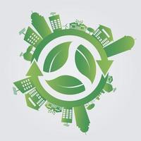 ecologisch concept wereld redden groene steden helpen de wereld met milieuvriendelijke concepten vector