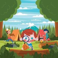 een groep kinderen die genieten van een zomerkamp vector