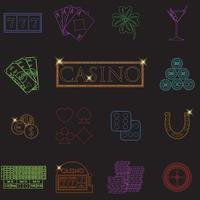 Casino en gokken lijn pictogrammen instellen met gokautomaat en roulette chips pokerkaarten geld dobbelstenen munten hoefijzer plat ontwerp vectorillustratie vector