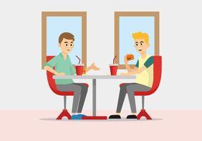 Mensen die bij de Vector van de Restaurantillustratie eten