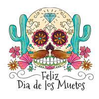 Leuke suikerschedel met snor, cactus en bloemen