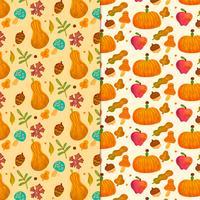 Schattig valt patroon met bladeren, pompoen, champignons en ornamenten