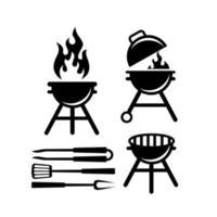 instellen collectie bbq barbecue grill gereedschap pictogram vector logo ontwerp zwart premium eenvoudig