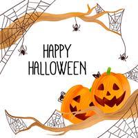 Pompoen met spinnen en spinnenweb naar Halloween vector