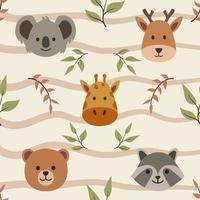 naadloze patroon over schattige dieren gezicht koala herten giraf wasbeer beer vector