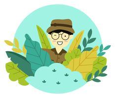 Man karakter in de Jungle Vector