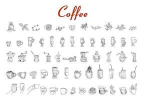 hand getekend koffie set vector grafische illustratie