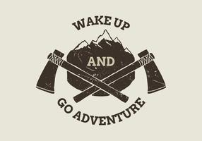 Mountain and Ax-badge vector