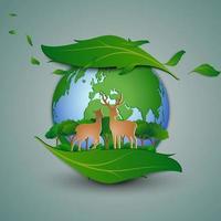 concept van milieuvriendelijk sparen het milieubehoud hertenfamilie die zich op bladvorm abstract achtergronddocument kunst en ambachtontwerp bevinden vector