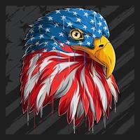 adelaarshoofd met Amerikaans vlagpatroon Veteranendag van de onafhankelijkheidsdag 4 juli en herdenkingsdag vector